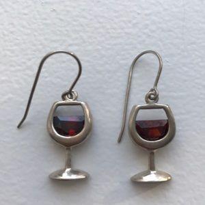 Silpada Sterling Silver Red Wine Earrings